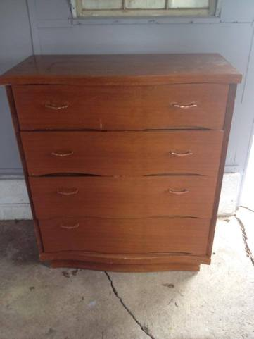 Before. Red license plate dresser by Endless Acres Farmtiques