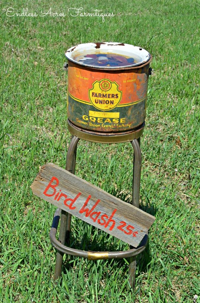 junk style bird bath. Endless Acres Farmtiques