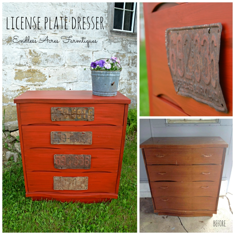 Red license plate dresser by Endless Acres Farmtiques